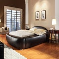 TRIBECCA HOME Yorkshire Black Bonded Leather Modern Upholstered Bed