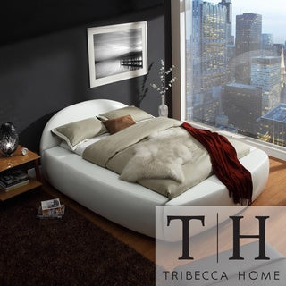 TRIBECCA HOME Yorkshire White Bonded Leather Modern Upholstered Bed