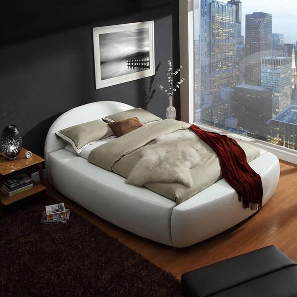 TRIBECCA HOME Yorkshire White Bonded Leather Modern Upholstered Bed
