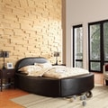 TRIBECCA HOME Dorchester Black Bonded Leather Modern Upholstered Bed