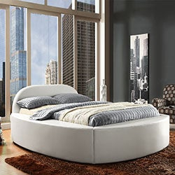 TRIBECCA HOME Dorchester White Bonded Leather Modern King-size Bed