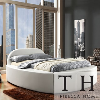 TRIBECCA HOME Dorchester White Bonded Leather Modern Upholstered Bed