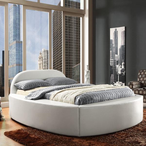TRIBECCA HOME Dorchester White Bonded Leather Modern Upholstered Bed