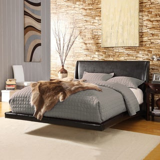 TRIBECCA HOME Carterton Black Bonded Leather Modern King-size Floating Bed