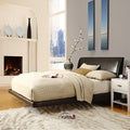 ETHAN HOME Carterton Black Bonded Leather Modern Floating Bed