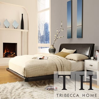 TRIBECCA HOME Carterton Black Bonded Leather Modern Floating Bed