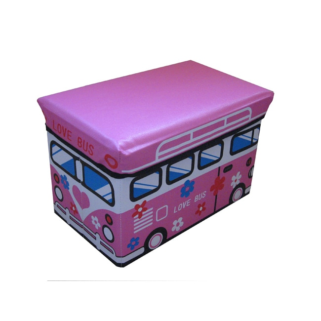 Toddler Pink Love Bus Folding Storage Ottoman (Small Size)