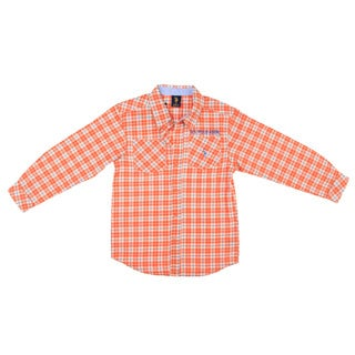 US Polo Boy's Orange Plaid Button Front Shirt