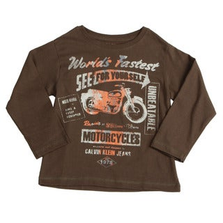 Calvin Klein Boys' Brown Graphic Motorcycle Long-sleeve Cotton Shirt FINAL SALE