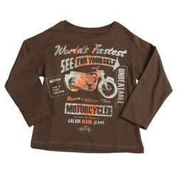 Calvin Klein Boys' Brown Graphic Motorcycle Long-sleeve Cotton Shirt FINAL SALE