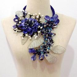 Blue Lotus Paradise Dyed Mother of Pearl Necklace (Thailand)