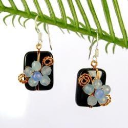 Blissful Floral Onyx Faceted Quartz Earrings (Thailand)