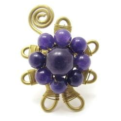 Purple Perennials Amethyst Stone Floral Ring (Thailand)