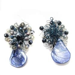 Crowned Teardrop Dyed Blue Shell Earrings (Thailand)