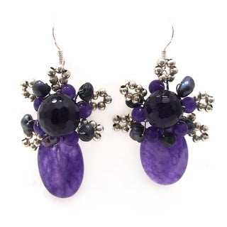 Crowned Oval Purple Agate Amethyst Earrings (Thailand)