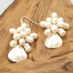 Floral Star Ray Freshwater White Pearl Earrings (Thailand)