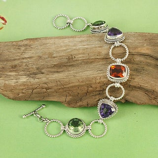 Sterling Silver Five Stones Rope Link Toggle Bracelet (Indonesia)
