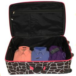 Rockland Deluxe Pink Giraffe Perfect Combination 3-piece Expandable Luggage Set