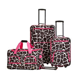 Rockland Perfect Ensemble Pink Giraffe 3-piece Expandable Luggage Set
