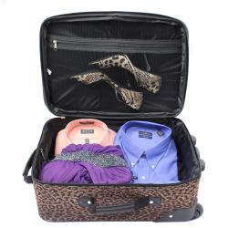 Rockland Perfect Combination 3-piece Leopard Expandable Luggage Set