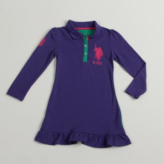 US Polo Girls Purple/ Green Polo Dress