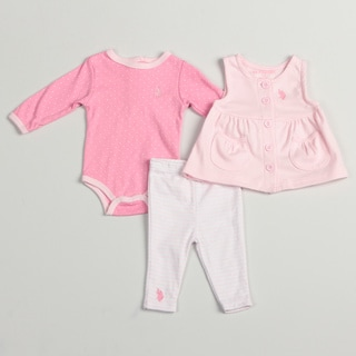US Polo Infant Girl's Pink 3-piece Set FINAL SALE