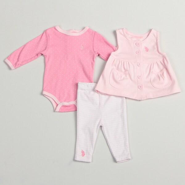 US Polo Infant Girl's Pink 3-piece Set FINAL SALE
