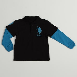 US Polo Boys Blue/ Black Polo Shirt FINAL SALE