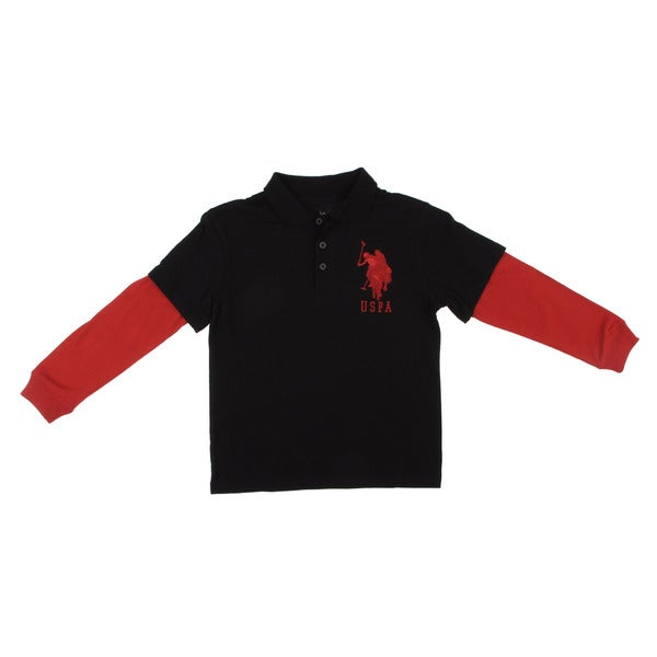 US Polo Boys Red/ Black Polo Shirt FINAL SALE