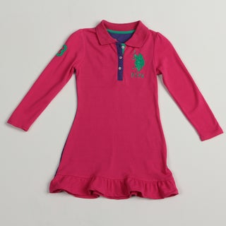 US Polo Girls Pink/ Purple Polo Dress