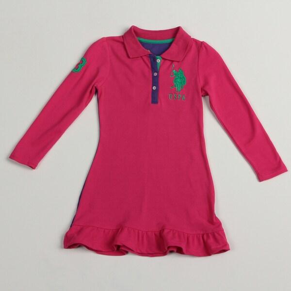 US Polo Girls Pink/ Purple Polo Dress