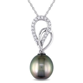 Miadora Miaodra 10k White Gold Tahitan Pearl and 1/8ct TDW Diamond Necklace (H-I, I2-I3)