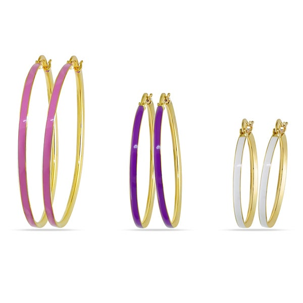M by Miadora Three-piece Multi-Colored Enamel Hoop Earrings