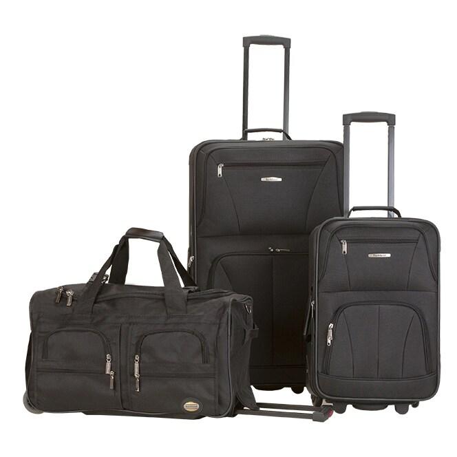 Rockland Perfect Ensemble 3-piece Black Expandable Luggage Set