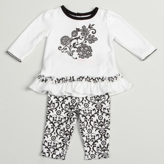 Calvin Klein Girl's Newborn White/ Black Two-piece Set