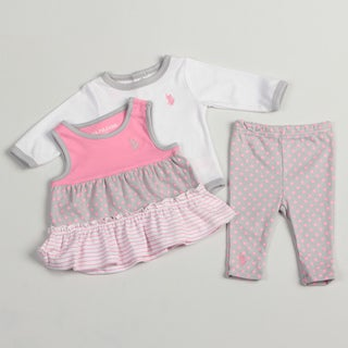 US Polo Infant Girls Pink/ Grey/ White 3-piece Set