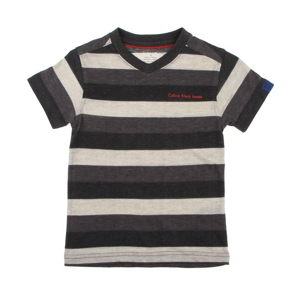 Calvin Klein Boys' Gray Striped Pullover Short-sleeve V-neck Shirt FINAL SALE
