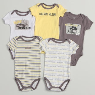 Calvin Klein Newborn Boys Yellow/ Grey Bodysuits