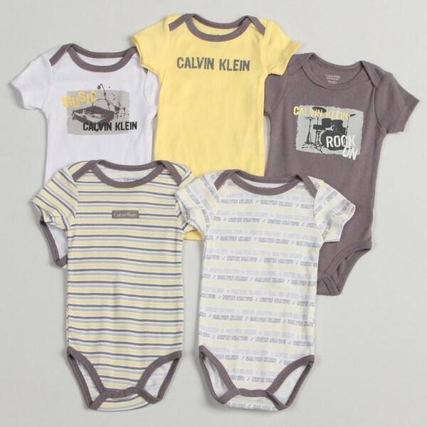 Calvin Klein Newborn Boys Yellow/ Grey Bodysuits