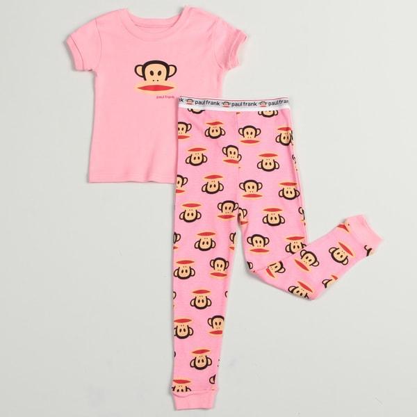 Paul Frank Girls' Pink Monkey Face Cotton Two-piece Pajama Set FINAL SALE