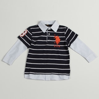 US Polo Boys Blue/ White Polo Shirt