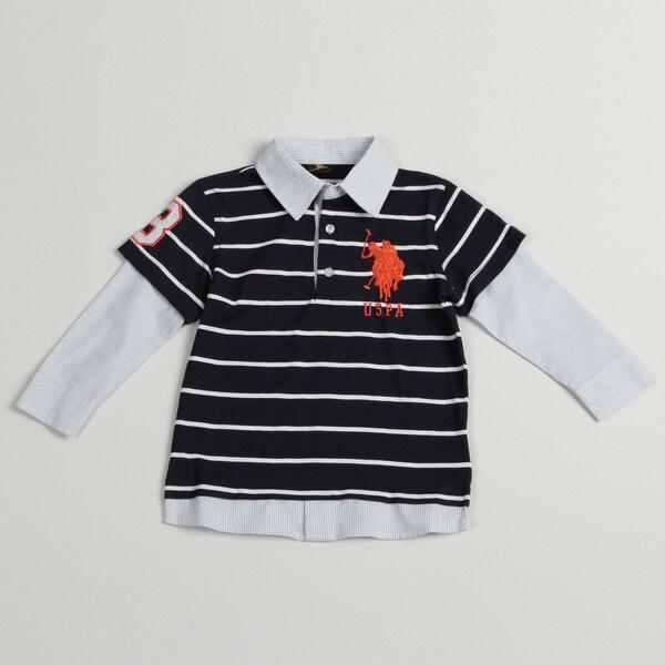 US Polo Boys Blue/ White Polo Shirt