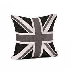 Union Jack 18-Inch Black/White Throw Pillow