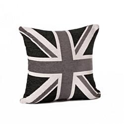Union Jack 18-Inch Black/White Throw Pillow