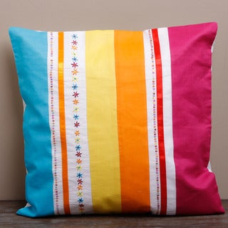 Bright Stipe Cotton Cushion Cover (India)
