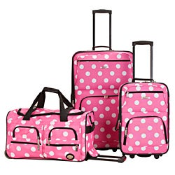 Rockland Perfect Ensemble Pink Dot 3-piece Expandable Luggage Set