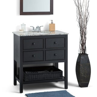 WYNDENHALL New Haven Espresso Brown 2-drawer 30-inch Bath Vanity Set with Dappled Grey Granite Top