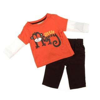 Kids Headquarters Newborn Boys' Orange/Brown Monkey Shirt/Pant Set