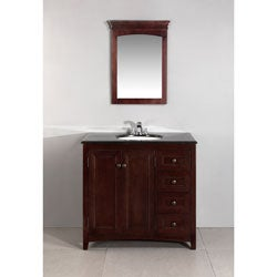 Windsor Walnut Brown 36-inch Bath Vanity with 2 Doors and Black Granite Top