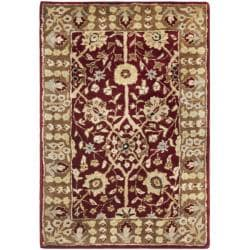 Handmade Persian Legend Red/ Light Brown Wool Rug (2' x 3')